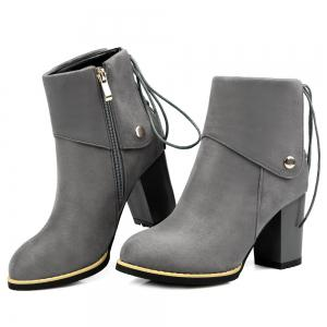 Back Lace-Up Chunky Heel Suede Boots - GRAY 40