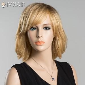 Short Skilful Side Bang Straight Siv Human Hair Wig -