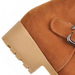 Buckle Strap Suede Ankle Boots - LIGHT BROWN 38