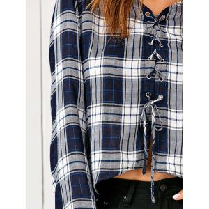 Lace-Up High Low Plaid Blouse -