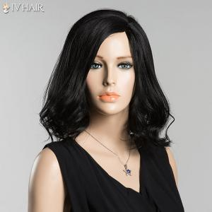 Medium Side Parting Tail Curly Siv Human Hair Wig - JET BLACK