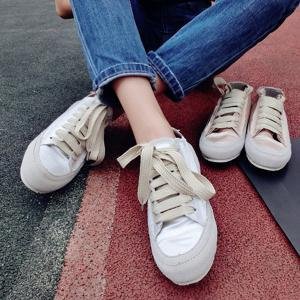 Casual Lace-Up Satin Spliced Suede Sneakers -