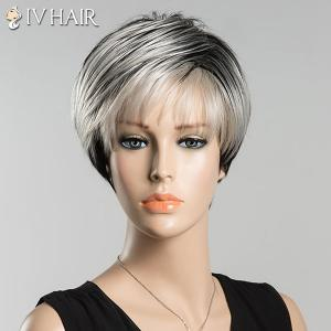 Short Spiffy Inclined Bang Straight Ombre Siv Human Hair Wig - COLORMIX