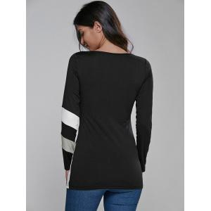 Color Block Long Sleeve Fitted T-Shirt -