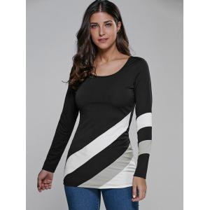 Color Block Long Sleeve Fitted T-Shirt - WHITE AND BLACK M