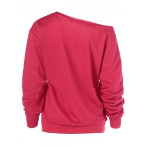 Merry Christmas Pullover Skew Neck Sweatshirt - RED XL