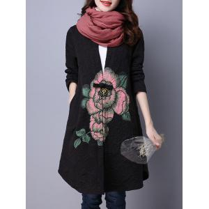 Collarless Cotton Coat With Flower Print - BLACK L