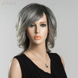 Medium Mixed Color Side Bang Tail Curly Siv Human Hair Wig -