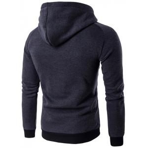 Hooded PU Leather Panel Raglan Sleeve Hoodie -