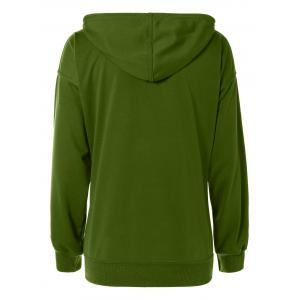 Drop Shoulder Pocket Design Drawstring Hoodie - ARMY GREEN L