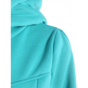 Slim Pockets Design Pullover Neck Hoodie - GREEN XL