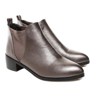 Elastic Band Faux Leather Ankle Boots -