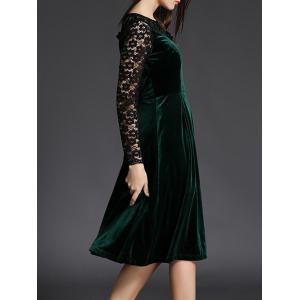 Lace Spliced Long Sleeve Fit and Flare Dress - GREEN XL
