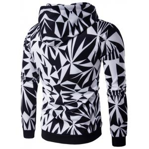 Hooded Irregular Rhombus Print Long Sleeve Hoodie - COLORMIX 2XL