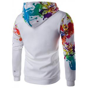 Splatter Paint Long Sleeve Hoodie - WHITE L