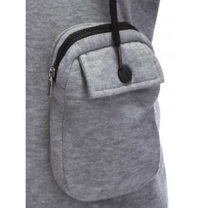 Pocket Design Zippered Drawstring Hoodie - GRAY L