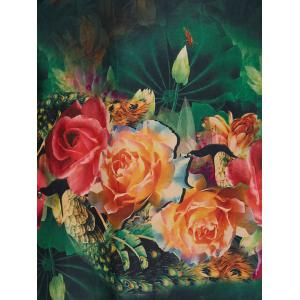 Plus Size Vintage Rose Painting A Line Dress -