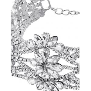 Emboss Floral Rhinestone Choker Necklace - SILVER