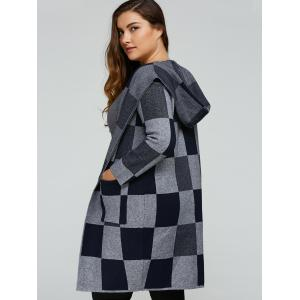 Hooded Checked Woolen Coat -