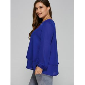 Plus Size Long Sleeve Layered Blouse -