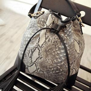 Tassels Snake Print Bucket Shoulder Bag -