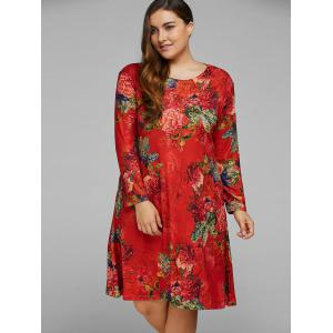 Plus Size Peony Flower Printed A Line Dress -