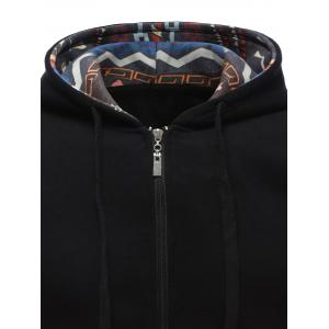 Tribal Print Drawstring Zip Up Hoodie - BLACK XL