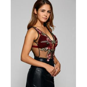 Enticing Flower Embroidery Cut Out See-Through Tank Top -
