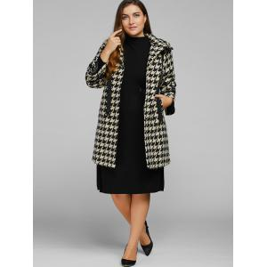 Houndstooth Plus Size Cashmere Coat -