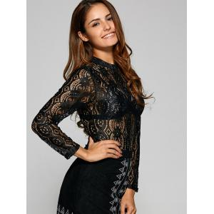 See Through Oval Lace T-Shirt - BLACK XL