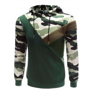 Hooded Camouflage Splicing Long Sleeve Hoodie - ACU CAMOUFLAGE XL