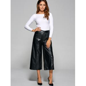 High Waisted Faxu Leather Crop Wide Leg Pants - BLACK XL