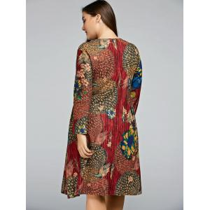 Plus Size Peacock Printed A Line Long Sleeve Dress -