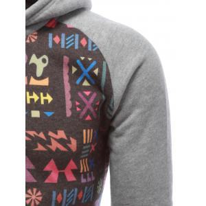 Tribal Print Drawstring Raglan Sleeve Hoodie - GRAY XL