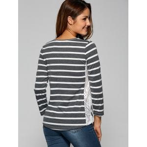 Side Slit Lace Panel Striped T-Shirt - DEEP GRAY 2XL