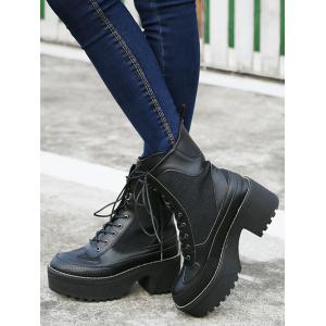 Spliced Lace-Up Platform Combat Boots - BLACK 38