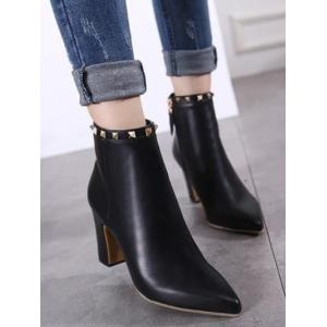 Chunky Heel Rivet Pointed Toe Boots -