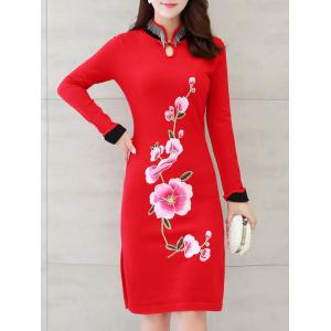 Long Sleeves Embroidered Chinese Dress -