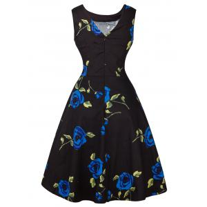 Vintage Tie-Waist Rose Print Slimming Dress - BLUE 2XL