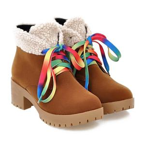 Color Block Splicing Tie Up Ankle Boots - BROWN 39