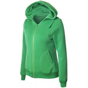 Casual Long Sleeve Pockets Zipper Up Hoodie - GREEN S