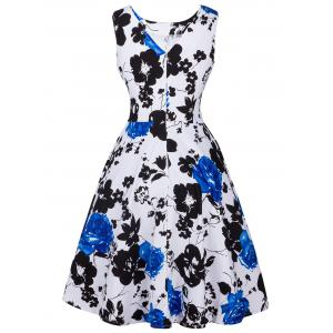 Retro Ornate Floral Print Tie-Waist Dress - BLUE 2XL