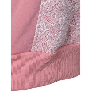 Casual Long Sleeve Lace Spliced Pullover Hoodie - PINK 2XL