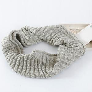 Knitted Pure Color Turtleneck Twist Infinity Scarf - LIGHT GRAY