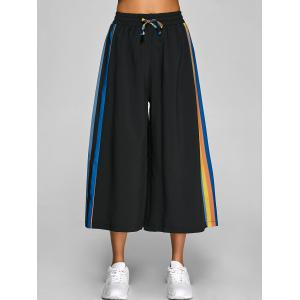 Drawstring Striped Culotte Pants -