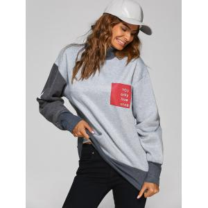 High Neck Graphic Patch Sweatshirt -