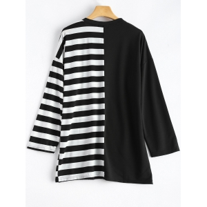 Jewel Neck Striped Color Block T-Shirt -