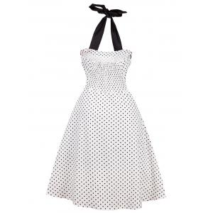 Vintage Halter Polka Dot Shirred Dress -