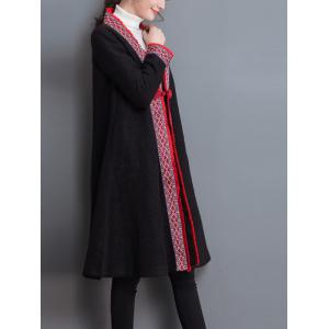 Embroidery Trim Frog Button Coat - BLACK 2XL