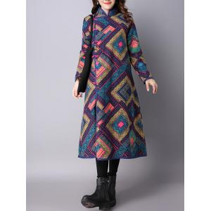 Frog Buttons Printed Long Maxi Coat - PURPLISH BLUE M